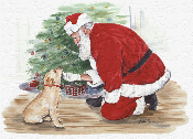 Yellow Labrador and Santa Note Card
