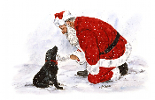 Black Labrador and Santa Note Card